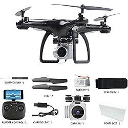 LBAFS 1500mAh Ultra-Larga Batería Vida Drone con WiFi Cámara De Transmisión En Tiempo Real HD One Key Despegue/Tierra Altitude Hold 360 ° Rodamiento Aviones Juguetes,Black-1080P