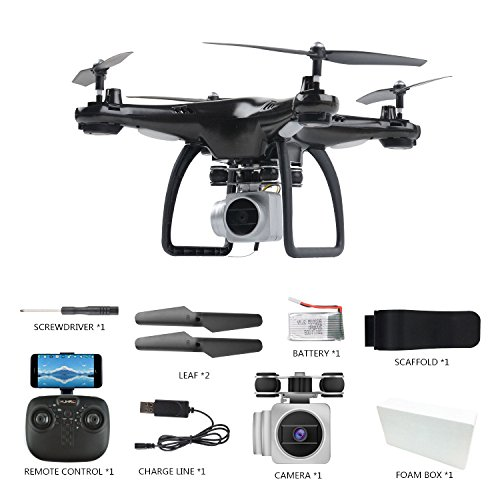 LBAFS 1500mAh Ultra-Long Battery Life Drone with WiFi Real Time Transmission Camera HD One Key Takeoff / Ground Altitude Hold 360 ° Aircraft Bearing Toys, Black-1080P