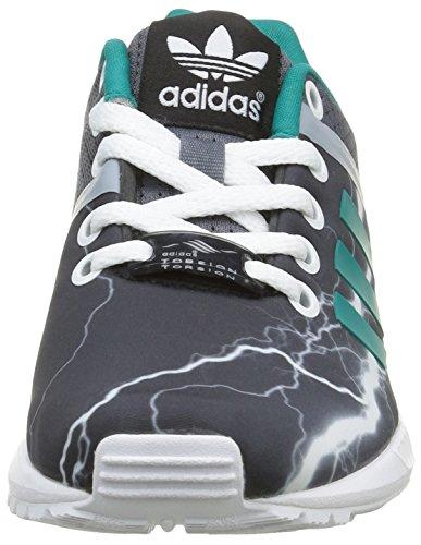 adidasZx Flux Split K - Sneaker Unisex - Bambini Nero (Onix/Equity Green/Footwear WhiteOnix/Equity Green/Footwear White)