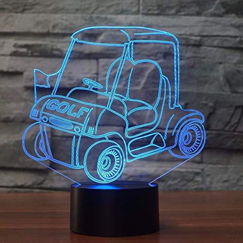 Night Light 7 Farben Golf Cart Formtisch Lampe 3d Led Visual Night Light Bedside Atmosphere Decor Touch Switch Car Light Fixture Geschenke Golf-cart Stereo
