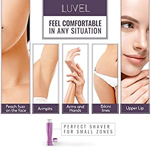 LuVel - Facial hair remover for women | Painless Electric Razor Technology | Flawless Face Hair Removal for Woman & Lady | Trim Peach Fuzz Lips Armpit Bikini | Portable Wet & Dry Ladies Shaving Device