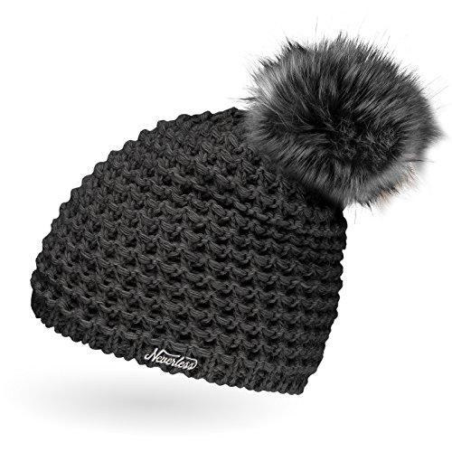 Damen Strickmütze mit Fell-Bommel und Fleece gefüttert, Kunstfell, Winter-Mütze,...