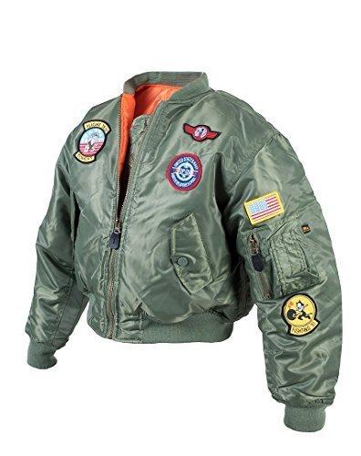 Kinder MA1 Bomber Fliegerjacke 'Top Gun' (L (8-10 Jahre), Oliv)