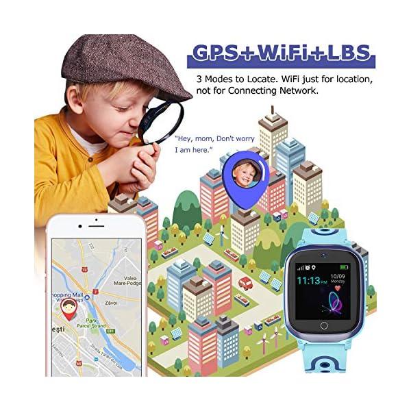 MeritSoar Tech GPS Smartwatch para Niños - WiFi + GPS + LBS Tracker Phone Smart Watch con Contador de Pasos Geo Fence Cámara Calling SOS Chat de Voz Juego para 3-12 Niños Compatible iOS/Android 2