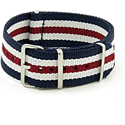 StrapsCo 20mm Navy / White / Burgundy 3-Ring G10 Ballistic Nylon Nato Zulu Watch Strap