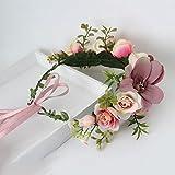 AWAYTR Blumen Stirnband Hochzeit Haarkranz Blume Krone (Bleich Malvenfarben) -