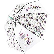 Paraguas Transparentes,Unicornio Claro Paraguas para niños Chicos, Chicas, Paraguas Abierto Auto A