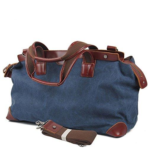 Etasche Damen Herren Vintage Canvas Weekender Tasche Canvas Reisetasche Vintage Sprottasche (Khaki) Blau