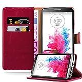 Cadorabo Hülle für LG G3 - Hülle in Wein ROT - Handyhülle im Luxury Design mit Kartenfach & Standfunktion - Case Cover Schutzhülle Etui Tasche Book