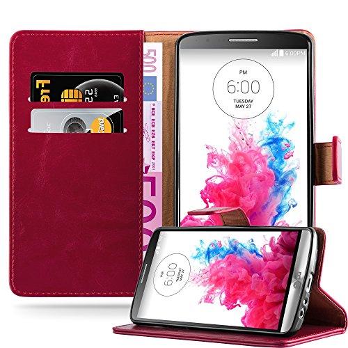 Cadorabo Hülle für LG G3 - Hülle in Wein ROT – Handyhülle im Luxury Design mit Kartenfach und Standfunktion - Case Cover Schutzhülle Etui Tasche Book