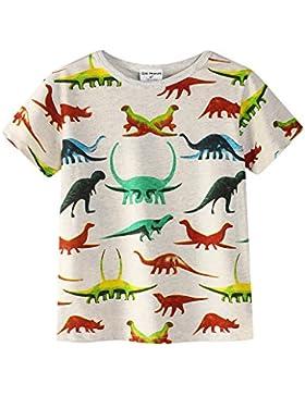 Backbuy Camiseta infantil de Verano Personalizada Camiseta infantil de Dinosaurio Para Niños DE 2-7 Años
