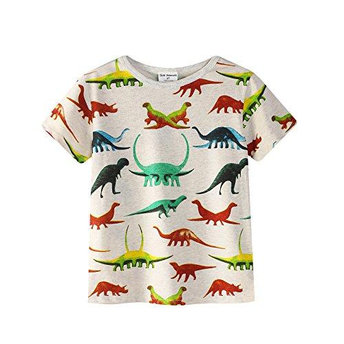 Backbuy Camiseta de Niños Camiseta de Dibujos Animados de Dinosaurios Algodón Ropa de Niños Tops Edad 6 Años