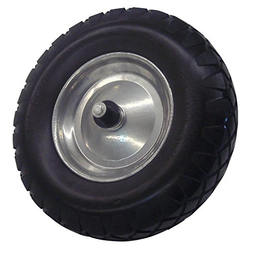 Schwarzes PU Rad 400 mm Schubkarrenrad NEU mit Starken Kugel-Lager, inkl.Achse Achsdurchmesser 20 mm Pannensicher (Schubkarre-rad-lager)