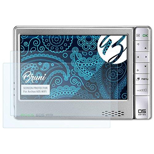 Bruni Schutzfolie für Archos 605 Wifi Folie - 2 x glasklare Displayschutzfolie (Archos 605 Screen Protector)
