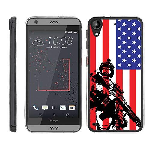 turtlearmor | Kompatibel für HTC Desire 530Fall | Desire 630| Desire 550[Flexible Armor] Slim Fit Flexible TPU Hülle Case Klar Bumper Cover Militär Armee Camo Design -, American Soldier (Htc Desire Virgin Mobile Fall)