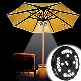 (Upgraded) lámpara de patio paraguas, geekeep inalámbrico paraguas polo luz con 3modos de intensidad de brillo, 24LEDs en Max 300lúmenes para Patio Paraguas, Camping y uso en exteriores (negro)