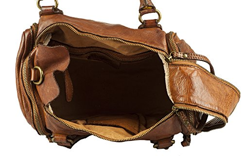 ZETA SHOES Borsa donna tracolla in vera pelle lavata vintage made italy MainApps Cuoio