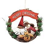 Wawer 36 CM Rattan-Kreis Puppen Schneemann Hirsch Anhänger Tür Wand hängende Ornamente Weihnachtskranz für Xmas Party Garland Puppen Weihnachts Dekoration (A)