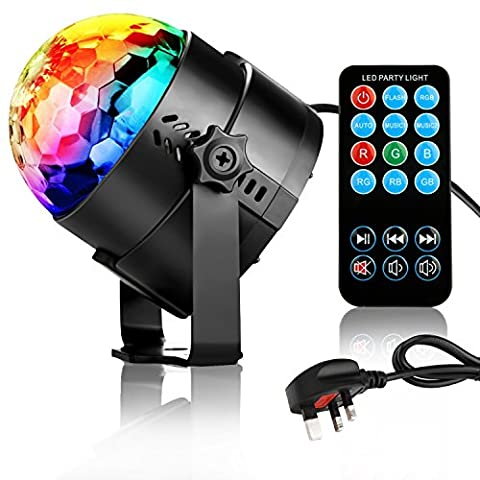 NIUBIEER Disco lights Disco ball 3W RGB LED strobe light Music Activated Party lights Glitter ball with Remote Control,Mini Mirror ball Light weight rotating effective DJ Disco lighting for Home birthday party,KTV,Bar,Stage,Wedding
