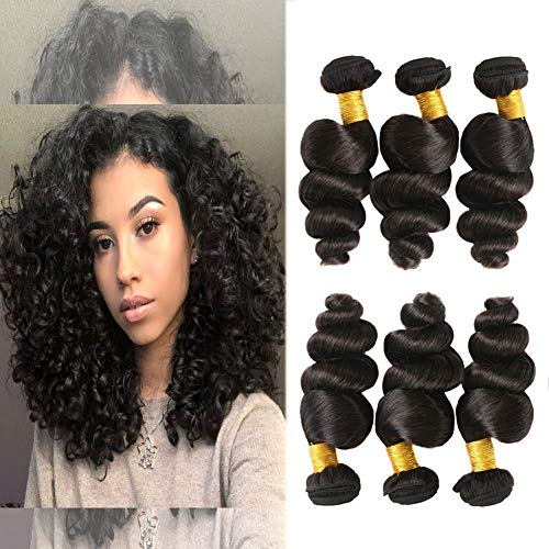 razilian Hair Bundles 7a Virgin Hair Deals 300g Natural Hair Weaves Extensions 12 14 16 Inches in Pack ()