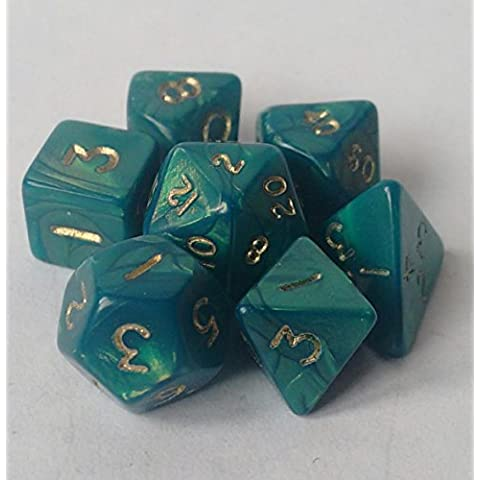 Poly Dice Set, mini, Interferenz Verde, 7 poliedro Dice D4 D6 D8 D10 D12 D20 D00