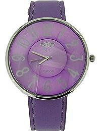 Prince London PI-2016 - Reloj para mujeres, correa de tela color morado