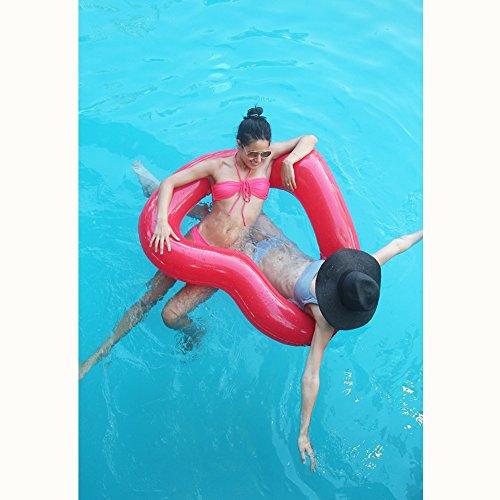 Inflatable Swim Rings Salvagente Galleggiante ad Anello in Formato Cuore per Adulti Bambini Rosso (120cm x 100cm)