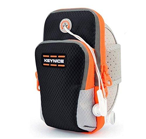 Keynice Outdoor Running Armband Sport Handytasche Sport-Armtasche Multifunktionsarmtasche für iPhone 7/6 / 6S / Samsung Galaxy S7 / S6 / S5 mit Größe kleiner als 5,5 Zoll (Schwarz) …