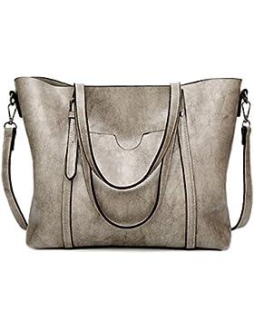 EssVita Damen Handtaschen Beuteltote Schultertaschen für Frauen Große PU Leder Top Griff Messager Handtasche