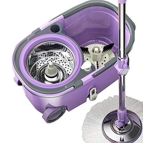 Axdwfd mocio rotante lavare a mano libera domestico doppia guida pressione della mano disidratazione secchio di scopa, 4 teste di mop