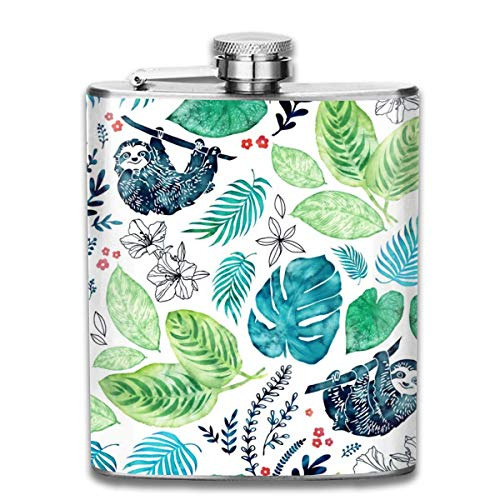 Miedhki Sloth Jungle_699 Wine Flasks Hip Flask with Funnel Stainless Steel 7 OZ Multicolor