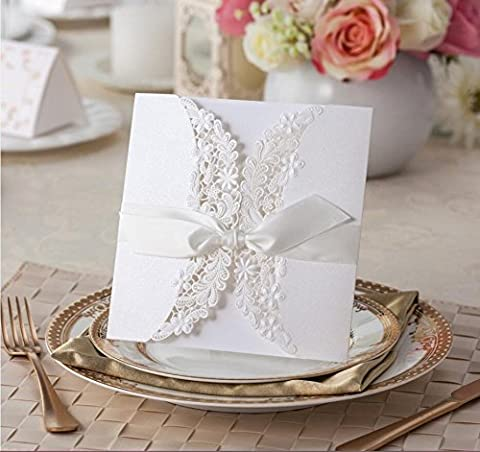VStoy Laser cut flora & lace wedding invitations with ribbons 20pcs