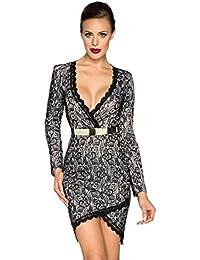Atixo Vintage-Kleid mit Gürtel - schwarz/weiß