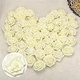 50x Foamrosen Schaumrosen Rosenköpfe Künstliche BlumeKünstliche Blume Hochzeit Party Hause Dekor (Cream)