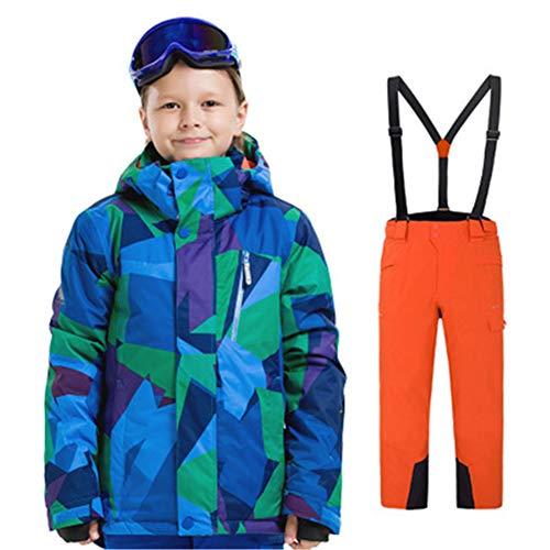 J.SPG Conjunto de Ropa de esquí para, Adecuado para 8-15 años Niños y Niñas Fibra de Poliester Chaqueta +Correa Desmontable Pantalon Tamaño,A,2XL