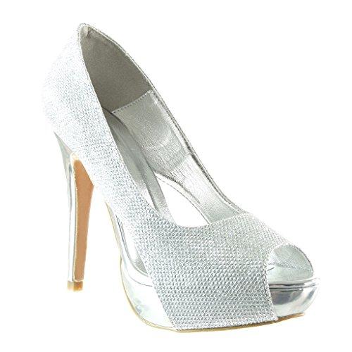 Angkorly Damen Schuhe Pumpe - Peep-Toe - Stiletto - Abend - Glänzende Stiletto High Heel 12.5 cm - Silber SK1108 T 36
