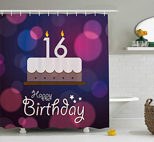 (16th Birthday Decorations Shower Curtain, Little Cupcake with Candle Greeting Message Romantic Print, Fabric Bathroom Decor Set with Hooks, 60W X 72L Inche, Red Orange Blue)