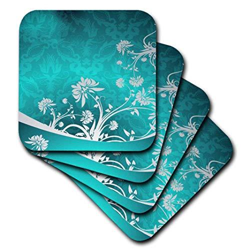 2Gray Soft Blumen auf Türkis Damast Hintergrund Untersetzer (Set von 8) ()