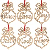 ROSENICE 6pcs Wooden Christmas Tree Decorations Ornaments Hanging Hollow Out Heart Peace Love Joy Faith Noel Hope Christmas Craft Embellishments