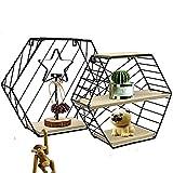 Wandregal 2er Set aus Holz und Metall Praktisch Holzregal mit