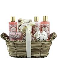 BRUBAKER Cosmetics Bade- und Dusch Set Aprikose und Granatapfel Duft - 11-teiliges Geschenkset im Flechtkorb