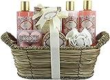 BRUBAKER Cosmetics Bade- und Dusch Set Apricot & Pomegranate - Aprikose und Granatapfel Duft - 11-teiliges Geschenkset in Flechtkorb