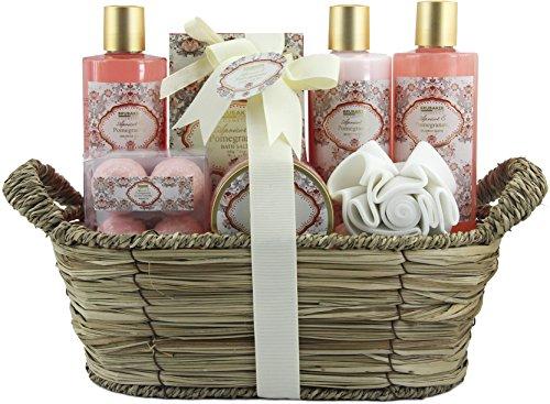 BRUBAKER Cosmetics Bade- und Dusch Set Aprikose und Granatapfel Duft - 11-teiliges Geschenkset in Flechtkorb