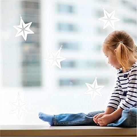 Vinilos estrellas de navidad. Conjunto de 5 estrellas de 30 cm de alto. Color Blanco