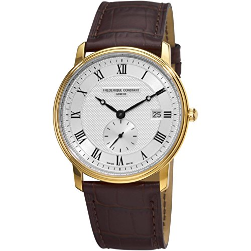 Frederique Constant Men's Quartz Watch with Silver Dial Analogue Display and Brown Leather Strap