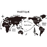 Viaggio Mappa del mondo Wall Sticker nero