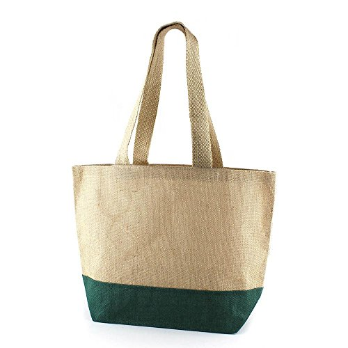 BIOZOYG Cooler Trendiger Fiji Jute Shopper grün I Handtasche Schultertasche Beuteltasche Big Bag Badetasche Stofftasche Beutel I nachwachsende Rohstoffe I 47x34x15cm I Strand Einkaufen -