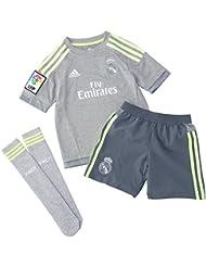 adidas 2ª Equipación Real Madrid CF SMU Mini - Conjunto, color gris / lima, talla 116