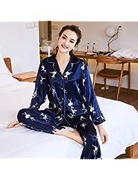 Jeaqw Home Simulación Pijamas de Seda Damas Primavera Pantalones de Manga Larga Servicio a Domicilio Traje