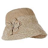 Leisial Mujer Señora Sun Sombrero Color sólido Elegante diseño de la flor Casquillo de la cuenca Sombrero del pescador Sombrero de la protección solar de la playa del verano Anti-UV respirable (Caqui)